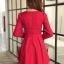 ชุดเดรสทำงานสวยๆ สีแดง คอกลม แขนยาว เนื้อผ้าดี ,S M L XL thumbnail 2