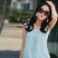 มินิเดรสั้น ผ้าชีฟอง สีขาว สีดำ และ สีฟ้า ไซร์ M thumbnail 5