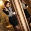 เสื้อทำงานแฟชั่นสไตล์เกาหลีสวยๆ เสื้อลูกไม้แขนยาวสีดำ คอจีน กระดุมคอ ผ้าลูกไม้เนื้อผ้ายืดหยุ่น thumbnail 4