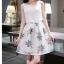 ชุดเดรสสีขาวกระโปรงลายใบไม้สีเขียว แขนกุด แนวเกาหลี ลุคสาวสวยหวานน่ารัก ดูสดใส thumbnail 4