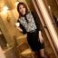 เสื้อทำงานแฟชั่นสไตล์เกาหลีสวยๆ เสื้อลูกไม้แขนยาวสีดำ คอจีน กระดุมคอ ผ้าลูกไม้เนื้อผ้ายืดหยุ่น thumbnail 2