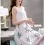 ชุดเดรสสีขาวกระโปรงลายใบไม้สีเขียว แขนกุด แนวเกาหลี ลุคสาวสวยหวานน่ารัก ดูสดใส thumbnail 5