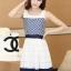 ชุดทำงานแฟชั่นเกาหลี มินิเดรสสวยๆ เดรสสั้นแขนกุด กระโปรงผ้าแก้ว สีกรมท่า ( S M L XL ) thumbnail 2