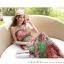 ชุดเดรสยาวใส่ไปเที่ยวทะเลสวยๆ โทนสีชมพู เขียว สายเดี่ยว เอวยืด ผ้าชีฟอง สวมใส่สบาย thumbnail 2