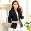 เสื้อสูททำงานผู้หญิงสีดำ แขนยาว คอปก แต่งกระดุม เข้ารูป สวยๆ เรียบร้อย สุภาพ