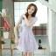 ชุดเดรสลูกไม้สีม่วง คอกลม แขนสั้น แนวเกาหลี สวยหวาน น่ารักๆ thumbnail 4