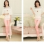เสื้อแฟชั่นเกาหลี เสื้อทำงาน สีขาว ผ้าชีฟอง แต่งลายลูกไม้ แขนสามส่วน ( M ,L,XL,XXL ) thumbnail 3