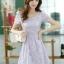 ชุดเดรสลูกไม้สีม่วง คอกลม แขนสั้น แนวเกาหลี สวยหวาน น่ารักๆ thumbnail 3