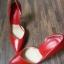 """รองเท้าส้นสูง ส้นแหลม หนังเรียบ สไตล์เกาหลี """"ทรง ZARA"""" สี แดง - ดำ (Pre) thumbnail 10"""