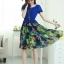 ชุดเดรสสั้นสีน้ำเงิน แขนสั้น คอกลม ผ้าชีฟอง เอวยืด กระโปรงลายดอกไม้ สวยน่ารัก