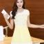 ชุดเดรสน่ารักสีเหลือง ชุดแซกกระโปรงสั้น คอกลม แขนสั้น ช่วงบนจะเป็นผ้าลูกไม้ กระโปรงผ้าชีฟองผสมผ้าใยแก้ว เป็นชุดออกงาน ไปงานแต่งงาน ,S M L XL thumbnail 1