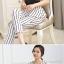 ชุดเชตเสองชิ้นเข้าชุด เสื้อ กางเกงขายาวสีขาว ลายตรง ลุคสาวเท่ห์ ดูดี thumbnail 2