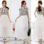 ชุดเดรสยาวสีขาว พิมพ์ลายตาราง กระโปรงยาว สวยเก๋ น่ารักๆ สไตล์เกาหลี thumbnail 2