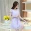 ชุดเดรสสั้นสีม่วง แนวสวยหวาน น่ารัก ผ้าชีฟอง คอจีบ แขนสั้น เอวแบบสายรูด S M L thumbnail 7