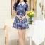 ชุดเดรสสั้นแฟชั่นเกาหลี สีน้ำเงิน พิมพ์ลายดอกไม้ คอปก แขนสั้น เป็นชุดเดรสแนวหวานน่ารัก เรียบร้อย ดูดี ( S M L XL ) thumbnail 10