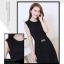 ชุดเดรสยาวแฟชั่นเกาหลี ชุดเดรสออกงาน ชุดราตรียาว ชุดเดรสสีดำ ชุดเดรส 2 ชิ้น เดรสตัวเข้ารูปแขนกุดซิปหลัง ผ้าคอลตอล ผ้าคลุมเอว ผ้าชีฟอง ( Size XL ) thumbnail 5