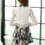 ชุดเดรสสั้นสีเทาดำ คอเชิ้ต แขนยาว กระโปรงลายดอกไม้ S M L XL thumbnail 6