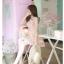 ชุดเดรสสั้นเกาหลีน่ารัก เดรสสั้นลูกไม้สีชมพูอ่อนลายดอกไม้ คอกลม แขนกุด thumbnail 13