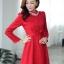 ชุดทำงานแฟชั่นเกาหลีสวยๆ มินิเดรสน่ารัก เดรสสั้น แขนยาว สีแดง คอประดับคริลตัล ( S M L XL ) thumbnail 6