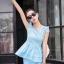 ชุดเซ็ทสองชิ้นเข้าชุดสีฟ้า สวยหรู ดูดี แฟชั่นสไตล์เกาหลี thumbnail 3