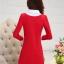 ชุดเดรสสั้นสีแดง คอปกสีขาว ปลายแขนพับขึ้น ด้านหน้าพิมพ์ลายตุ๊กตาน่ารักๆ แนวเกาหลี thumbnail 8