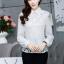 เสื้อทำงานแฟชั่นเกาหลี เรียบหรู ดูดี เสื้อเชิ้ตสีขาว แขนยาว คอปก ผ้าชีฟอง + ลูกไม้ , S M L XL thumbnail 9