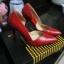 """รองเท้าส้นสูง ส้นแหลม หนังเรียบ สไตล์เกาหลี """"ทรง ZARA"""" สี แดง - ดำ (Pre) thumbnail 15"""