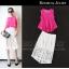 ชุดเดรสแฟชั่นเกาหลี ชุดเดรสน่ารัก ชุดเดรสสวย ๆ ชุดเซตเสื้อสีชมพูบานเย็น + กระโปรงยาวสีขาว ( S,M,L)