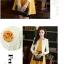 ชุดเดรสทำงาน สอง ชิ้น สีเหลือง เสื้อสูทสีครีม ชุดเอวเข้ารูป กระโปรงบาน น่ารัก thumbnail 3