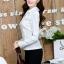 เสื้อทำงานแฟชั่นเกาหลี เรียบหรู ดูดี เสื้อเชิ้ตทำงานสีขาว คอปก แขนยาว ผ้าชีฟอง แต่งลายดอกไม้ , S M L XL thumbnail 5