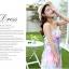 ชุดเดรสยาว สไตล์โบฮีเมียนเย็บคล้องคอ สีขาวพิมพ์ลายดอกไม้สีชมพู สวยหวาน thumbnail 2