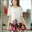 ชุดเดรสสั้นลายดอกไม้ เสื้อผ้าลูกไม้สีขาว เย็บต่อด้วยกระโปรงสั้นลายดอกไม้ เป็นชุดเดรสแฟชั่นน่ารักๆ สไตล์เกาหลี ( S,M,L,XL,) thumbnail 4