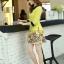 ชุดเดรสทำงาน แนวสวยหวานน่ารัก สีเหลือง คอปก แขนสี่ส่วน เอวเข้ารูป กระโปรงลายดอกไม้ S M L XL thumbnail 8