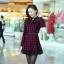 ชุดทำงานแฟชั่นเกาหลี ชุดเดรสสั้นลายสก๊อตสีแดงดำ คอปก แขนยาว ปลายกระโปรงแต่งด้วยผ้าแก้ว ,S M L XL thumbnail 7