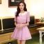 ชุดทำงานแฟชั่นเกาหลี มินิเดรสสวยๆ ชุดประโปรงสั้น คอปก แขนสั้น ผ้า organza สีม่วง ( S M L XL ) thumbnail 6