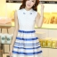 ชุดออกงานสวยๆแฟชั่นเกาหลี สีน้ำเงิน ผ้าลูกไม้ เหมาะกับการใส่ทำงาน หรือจะใส่ออกงาน ไปงานแต่งงานก็ได้ จะให้ลุคที่สวยสง่า thumbnail 5