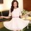 ชุดทำงานแฟชั่นเกาหลี มินิเดรสสวยๆ ชุดประโปรงสั้น คอปก แขนสั้น ผ้า organza สีขาว ( S M L XL ) thumbnail 5