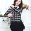 เสื้อทำงานสวยๆแฟชั่นเกาหลี เสื้อเชิ้ตสีดำ ลายดอกไม้ แขนยาว ปลายเสื้อแต่งระบาย ผ้าโพลีเอสเตอร์, S M L thumbnail 6