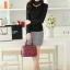 เสื้อทำงานแฟชั่นเกาหลี สีดำ คอเต๋า แขนยาว ผ้าชีฟอง+ลูกไม้ , M L XL thumbnail 3