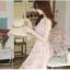 ชุดเดรสสั้นเกาหลีน่ารัก เดรสสั้นลูกไม้สีชมพูอ่อนลายดอกไม้ คอกลม แขนกุด thumbnail 5