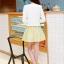 ชุดทำงานแฟชั่นเกาหลีสวยๆ ชุดทำงานออฟฟิศ ชุดเซ็ท 2 ชิ้น เสื้อคลุม + มินิเดรสสั้นสีเหลือง ผ้า Jacquard ( S,M,L,XL ) thumbnail 5