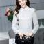 เสื้อทำงานแฟชั่นเกาหลี เรียบหรู ดูดี เสื้อเชิ้ตสีขาว แขนยาว คอปก ผ้าชีฟอง + ลูกไม้ , S M L XL thumbnail 6