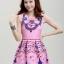 ชุดเดรสสวยๆราคาถูก ชุดแซกกระโปรงใส่ทำงาน สีชมพู พิมพ์ลายเก๋ๆสวยๆ ผ้าคอลตอลอัดลายดอกไม้ ซิปหลัง thumbnail 4