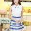 ชุดออกงานสวยๆแฟชั่นเกาหลี สีน้ำเงิน ผ้าลูกไม้ เหมาะกับการใส่ทำงาน หรือจะใส่ออกงาน ไปงานแต่งงานก็ได้ จะให้ลุคที่สวยสง่า thumbnail 4