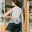 ชุดราตรีสั้น ชุดออกงาน ชุดเดรสแฟชั่นเกาหลี ชุดเดรสน่ารัก ชุดเดรสออกงาน ชุดเดรสสั้น เสื้อสีขาว แขนกุด เย็บติดกระโปรงสีดำ ( S,M,L,XL ) thumbnail 4