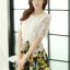 ชุดเดรสสั้นลายดอกไม้ เสื้อผ้าลูกไม้สีขาว เย็บต่อด้วยกระโปรงสั้นลายดอกไม้สีเหลือง เป็นชุดเดรสแฟชั่นน่ารักๆ สไตล์เกาหลี ( S,M,L,XL,) thumbnail 4