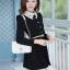 ชุดทำงานสวยๆ ชุดเดรสสั้น สีดำ คอปก แขนยาว ให้ลุคสาวหวานสไตล์เกาหลี สวยหรู ดูดี ( S M L ) thumbnail 4