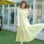 ชุดเดรสยาวสีเหลือง แขนกุด คอวี ผ้าชีฟอง เอวยืด มีซับใน เรียบหรู thumbnail 4