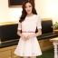 ชุดทำงานแฟชั่นเกาหลี มินิเดรสสวยๆ ชุดประโปรงสั้น คอปก แขนสั้น ผ้า organza สีขาว ( S M L XL ) thumbnail 1