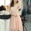 ชุดเดรสออกงานสวยๆ ชุดเดรสสั้น สีชมพู ผ้าชีฟอง ใส่ไปงานแต่งงาน ออกงานเลี้ยง ให้ลุคสาวหวานสไตล์เกาหลี สวยหรู ดูดี ( S M L XL ) thumbnail 4